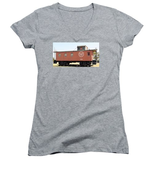 Women's V-Neck T-Shirt (Junior Cut) featuring the photograph Caboose by Ray Shrewsberry