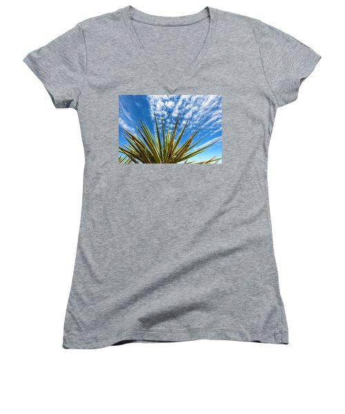 Cactus And Blue Sky Women's V-Neck T-Shirt (Junior Cut) by Amyn Nasser