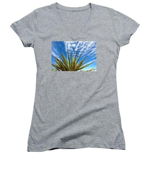 Cactus And Blue Sky Women's V-Neck T-Shirt (Junior Cut) by Amyn Nasser