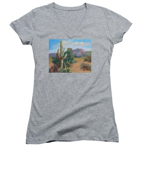 Women's V-Neck T-Shirt (Junior Cut) featuring the painting Cactus By The Red Mountains by Diane McClary