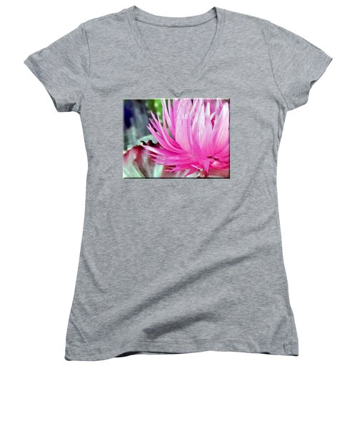Cactus Flower Women's V-Neck T-Shirt (Junior Cut)