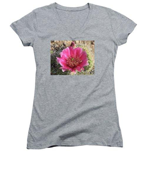 Cactus Flower Women's V-Neck T-Shirt