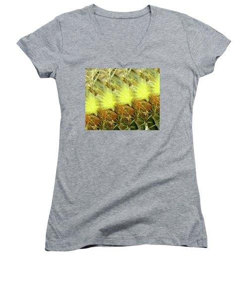 Cactus Flowers Women's V-Neck T-Shirt (Junior Cut) by Kathy Bassett