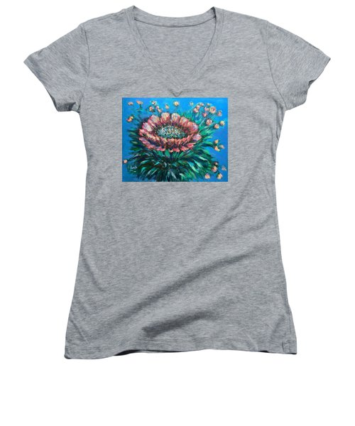 Women's V-Neck T-Shirt (Junior Cut) featuring the painting Cactus Flowers by Laila Awad Jamaleldin