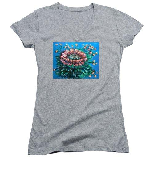 Cactus Flowers Women's V-Neck T-Shirt (Junior Cut) by Laila Awad Jamaleldin