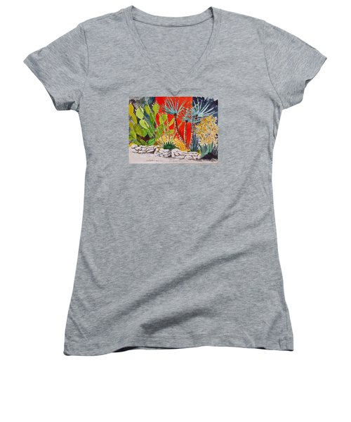 Cactus Garden  Women's V-Neck T-Shirt