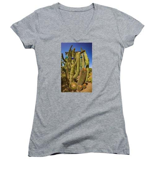 Cactus Skyscraper Women's V-Neck (Athletic Fit)