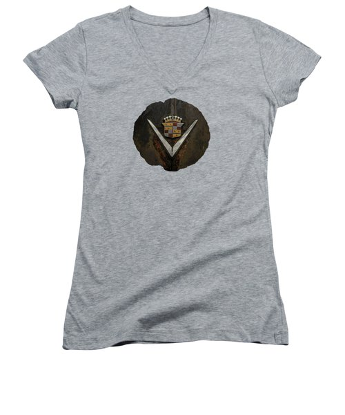 Women's V-Neck T-Shirt (Junior Cut) featuring the photograph Caddy Emblem by Debra and Dave Vanderlaan