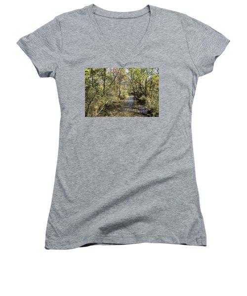 Cades Creek Women's V-Neck T-Shirt (Junior Cut) by Ricky Dean