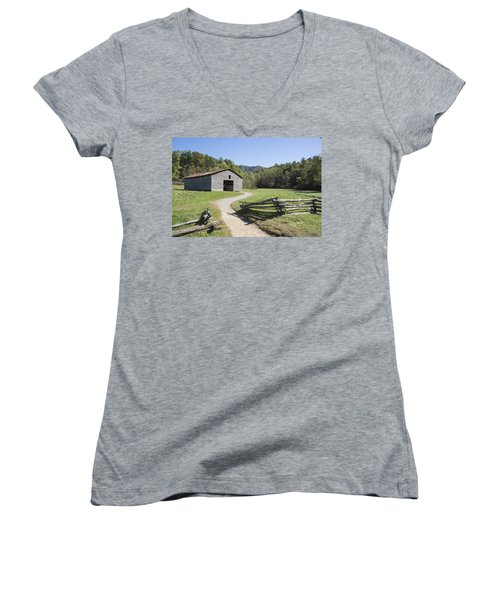 Cades Stables Women's V-Neck T-Shirt (Junior Cut) by Ricky Dean