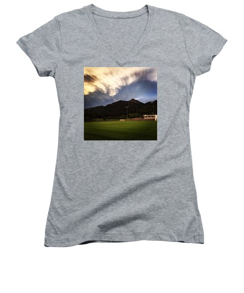 Women's V-Neck T-Shirt (Junior Cut) featuring the photograph Cadet Soccer Stadium by Christin Brodie