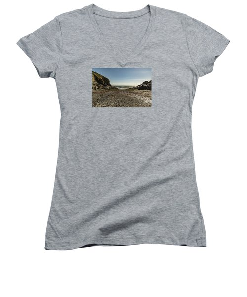 Cadgwith Cove Beach Women's V-Neck T-Shirt (Junior Cut) by Brian Roscorla