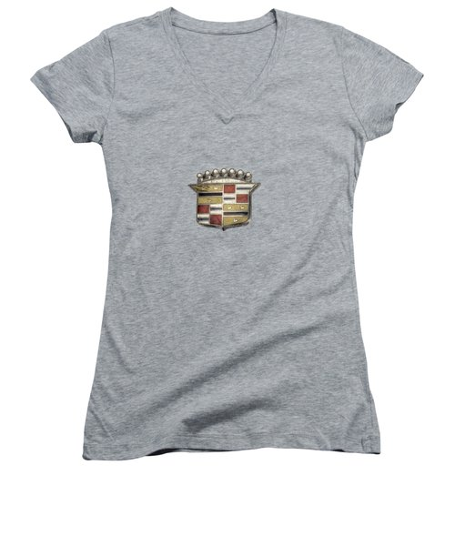Cadillac Badge Women's V-Neck T-Shirt