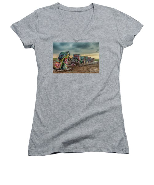 Cadillac Ranch Before The Rain Women's V-Neck