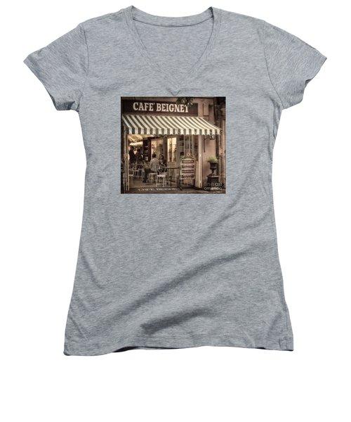 Cafe Beignet 2 Women's V-Neck T-Shirt (Junior Cut) by Jerry Fornarotto