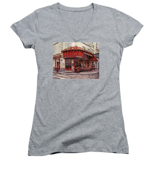 Cafe Des 2 Moulins- Paris Women's V-Neck T-Shirt (Junior Cut) by Joey Agbayani