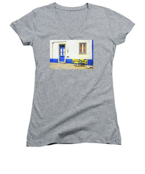 Cafe In Portugal Women's V-Neck T-Shirt (Junior Cut) by Marion McCristall