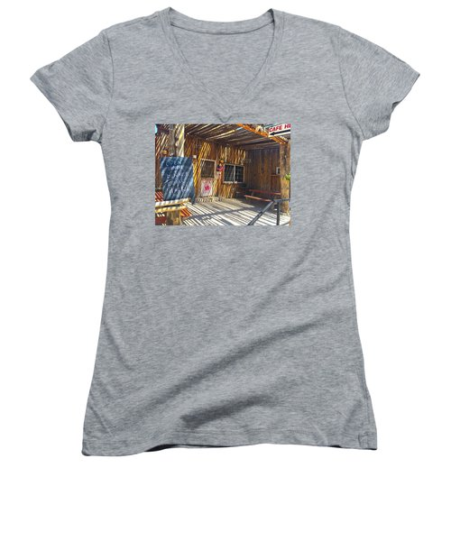 Women's V-Neck T-Shirt (Junior Cut) featuring the photograph Cafe In Stripes by Susan Crossman Buscho