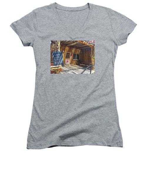 Cafe In Stripes Women's V-Neck T-Shirt (Junior Cut) by Susan Crossman Buscho