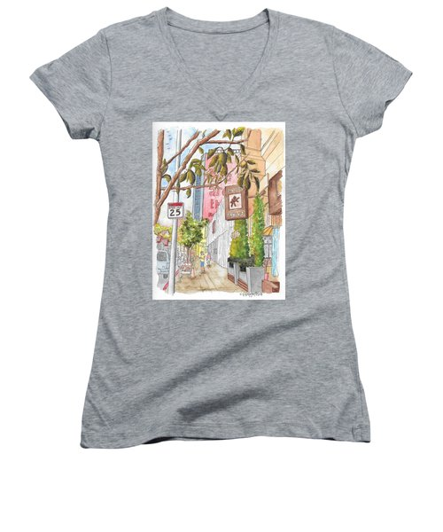 Cafee Primo In Sunset Plaza, West Hollywood, California Women's V-Neck T-Shirt (Junior Cut) by Carlos G Groppa
