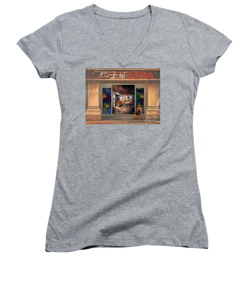 Women's V-Neck T-Shirt (Junior Cut) featuring the painting Cafeteria by Mojo Mendiola