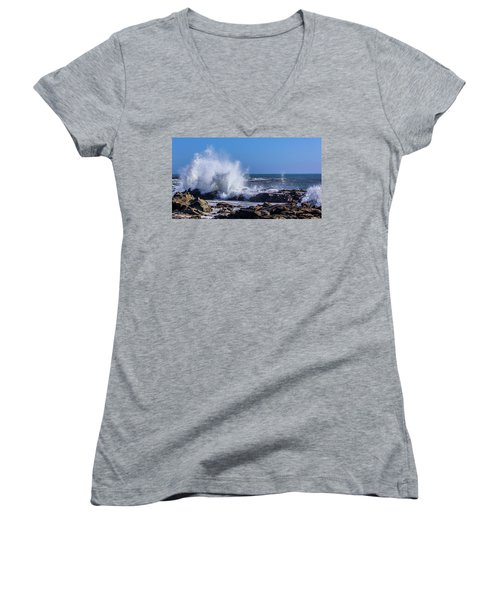 Wave Crashing On California Coast Women's V-Neck (Athletic Fit)