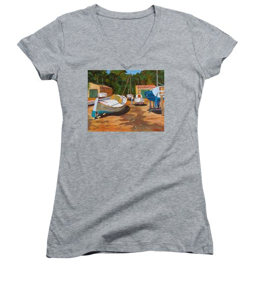 Cala Figuera Boatyard - I Women's V-Neck T-Shirt (Junior Cut)