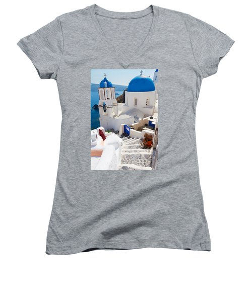 Caldera With Stairs And Church At Santorini Women's V-Neck (Athletic Fit)