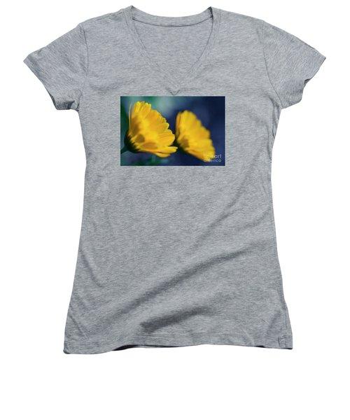 Women's V-Neck T-Shirt (Junior Cut) featuring the photograph Calendula Flowers by Sharon Mau