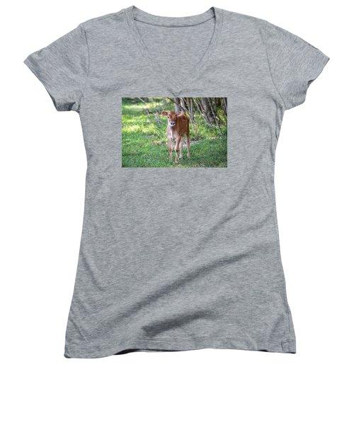 Calf  Women's V-Neck
