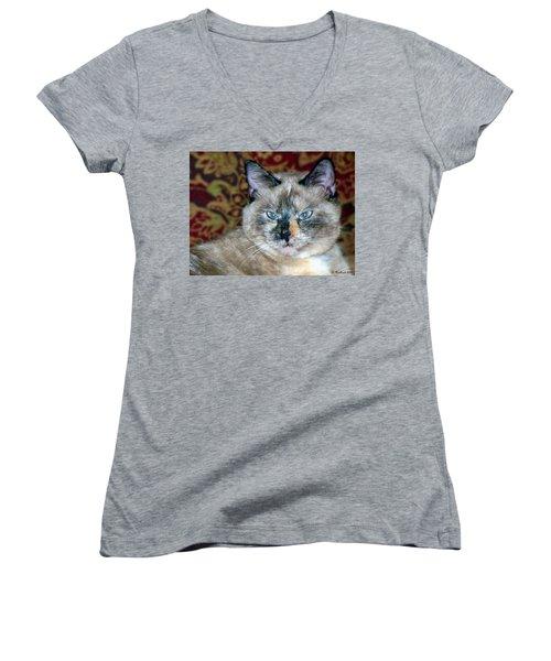 Women's V-Neck T-Shirt (Junior Cut) featuring the photograph Cali-mese by Betty Northcutt