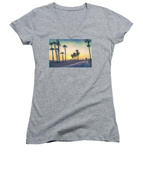 Cali Sunset Women's V-Neck T-Shirt