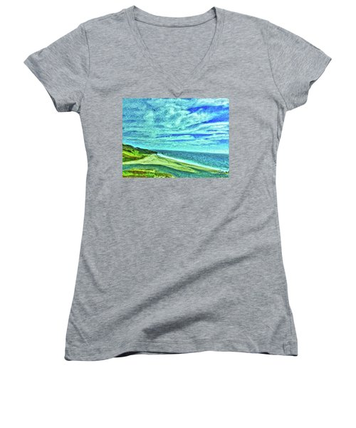 California Coast Women's V-Neck T-Shirt (Junior Cut) by Joan Reese