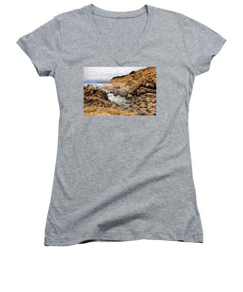 California Coast Rocks Cliffs And Beach Women's V-Neck T-Shirt (Junior Cut) by Dan Carmichael