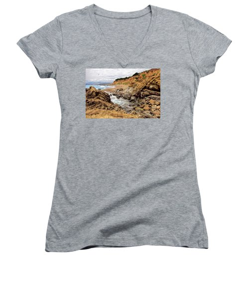 California Coast Rocks Cliffs And Beach Women's V-Neck T-Shirt