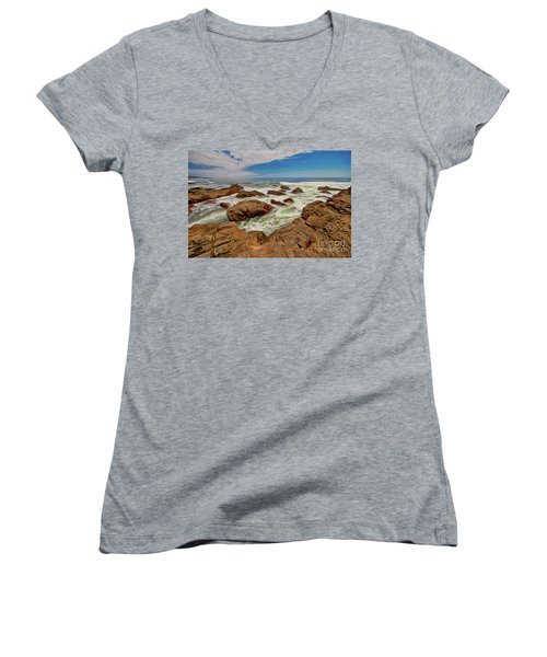 California Coast Waves On Rocks Ap Women's V-Neck T-Shirt (Junior Cut)