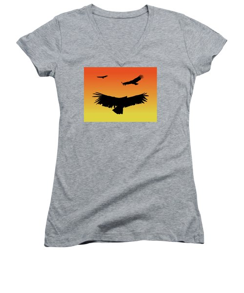 California Condors In Flight Silhouette At Sunset Women's V-Neck (Athletic Fit)