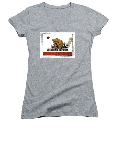California Fire Bear Grieves Women's V-Neck