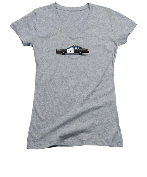 California Highway Patrol Ford Crown Victoria Police Interceptor Women's V-Neck T-Shirt