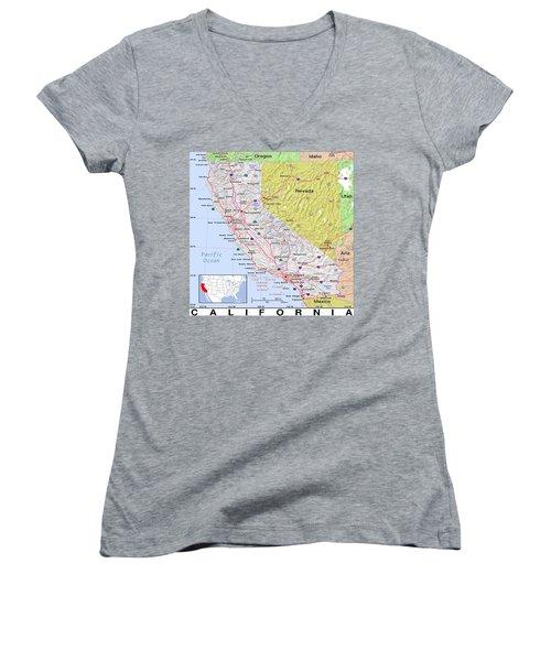 California Modern Map Women's V-Neck (Athletic Fit)