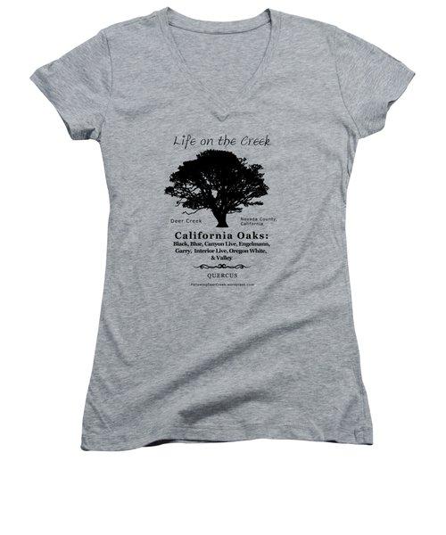 California Oak Trees - Black Text Women's V-Neck