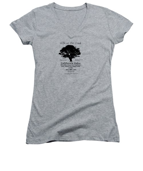 California Oak Trees - Black Text Women's V-Neck (Athletic Fit)