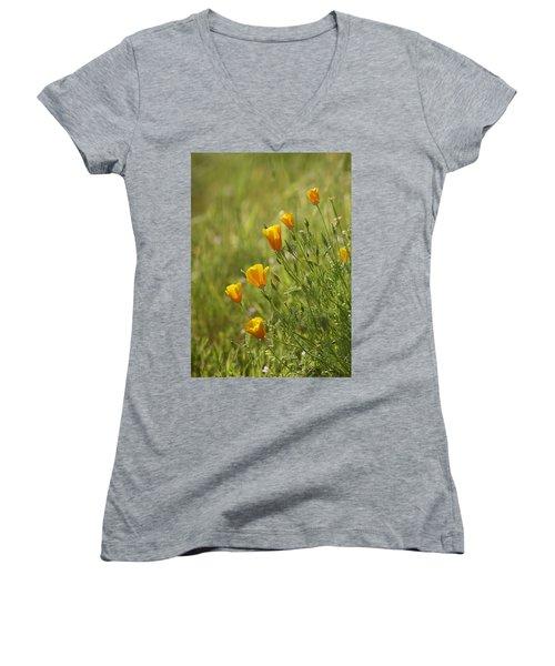 Women's V-Neck T-Shirt (Junior Cut) featuring the photograph California Poppy by Doug Herr