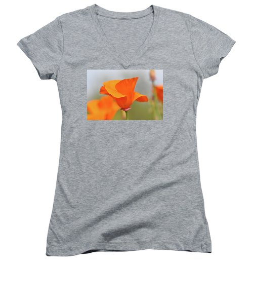 California State Poppy Macro Women's V-Neck T-Shirt