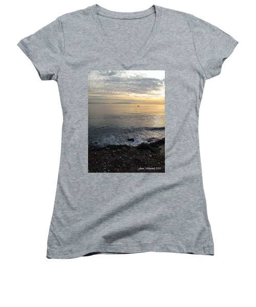 Women's V-Neck T-Shirt (Junior Cut) featuring the photograph California Sunset by Joan  Minchak