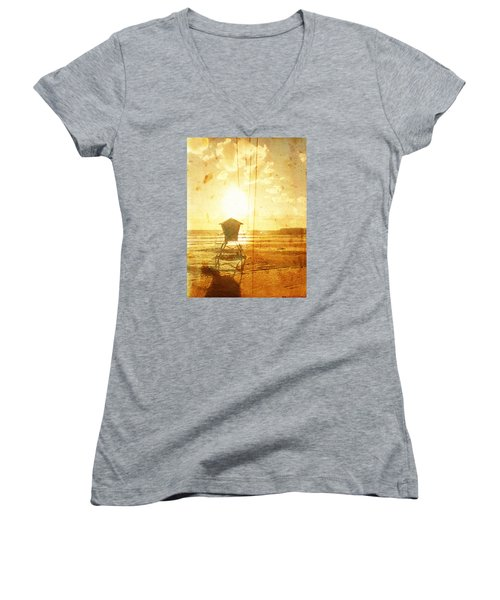 Women's V-Neck T-Shirt (Junior Cut) featuring the digital art Californian Lifeguard Cabin by Andrea Barbieri