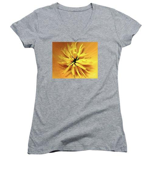 Californian Poppy Macro Women's V-Neck T-Shirt (Junior Cut) by Baggieoldboy