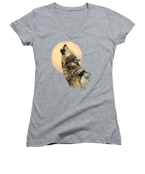 Call Of The Wild Women's V-Neck T-Shirt (Junior Cut) by Lucie Bilodeau