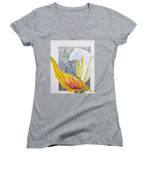 Calla Lily Women's V-Neck T-Shirt (Junior Cut) by Carolyn Rosenberger