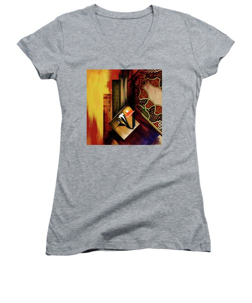 Women's V-Neck T-Shirt (Junior Cut) featuring the painting Calligraphy 102  2 1 by Mawra Tahreem